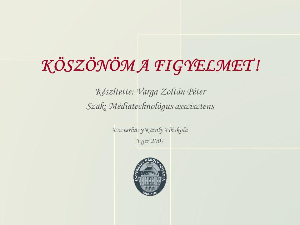 KÖSZÖNÖM A FIGYELMET ! Készítette: Varga Zoltán Péter Szak: Médiatechnológus asszisztens Eszterházy Károly Főiskola Eger 2007