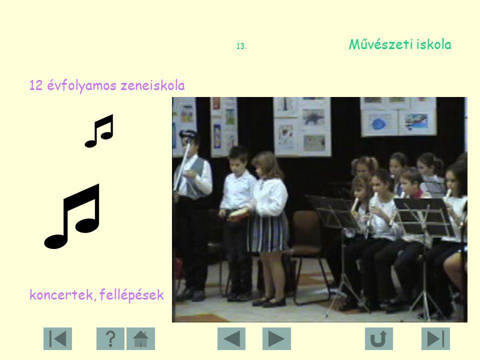 12. Művészeti iskolánk 138 tanuló 5 pedagógus 6 tanszak furulya …………… fuvola ………… zongora …………… ütő …………… gitár drámajáték