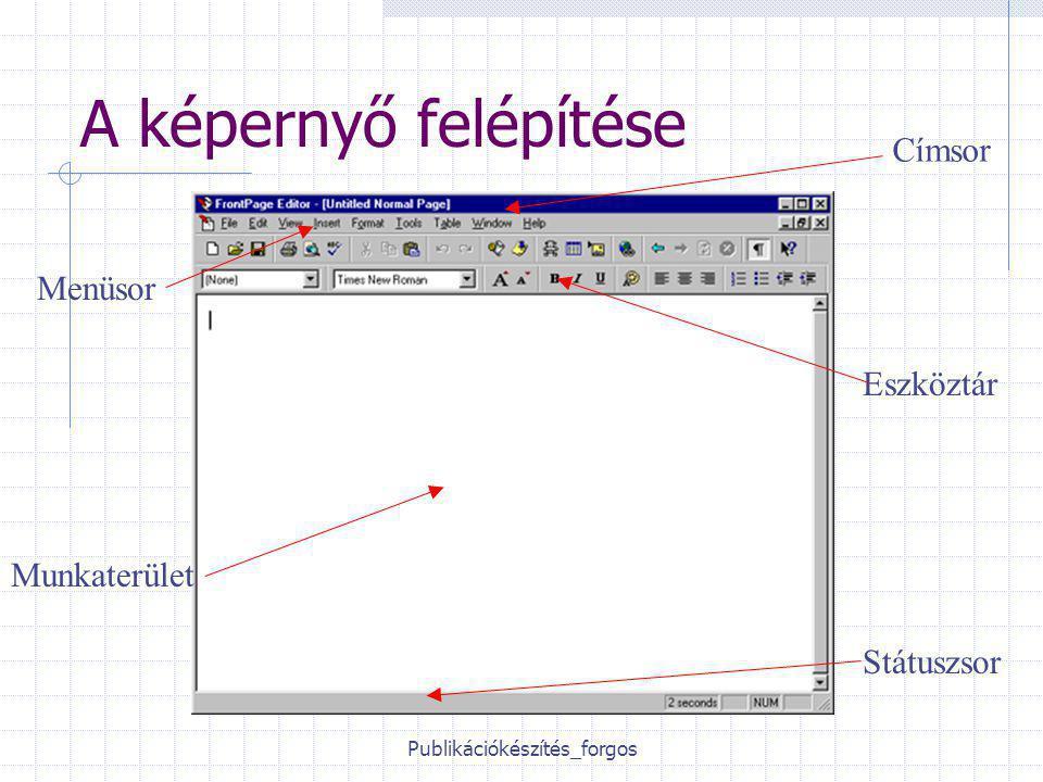 Publikációkészítés_forgos A képernyő felépítése Címsor Menüsor Eszköztár Munkaterület Státuszsor