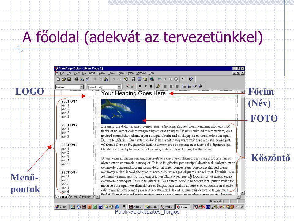 Publikációkészítés_forgos A főoldal (adekvát az tervezetünkkel) LOGOFőcím (Név) Menü- pontok FOTO Köszöntő