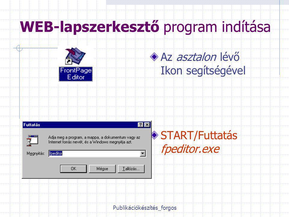 Publikációkészítés_forgos WEB-lapszerkesztő program indítása Az asztalon lévő Ikon segítségével START/Futtatás fpeditor.exe