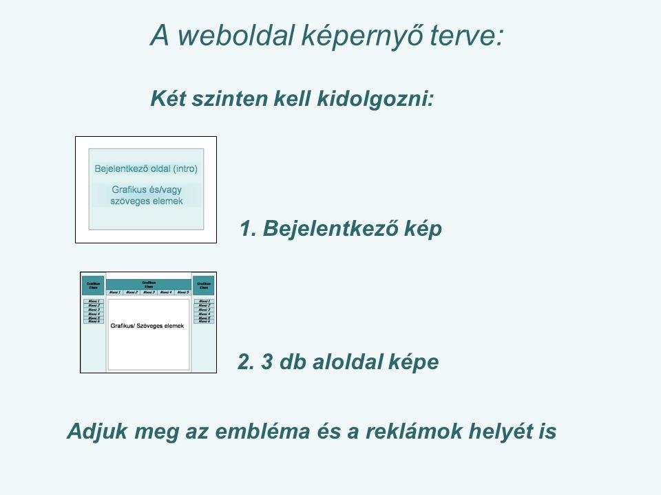 A weboldal képernyő terve: Két szinten kell kidolgozni: 2.