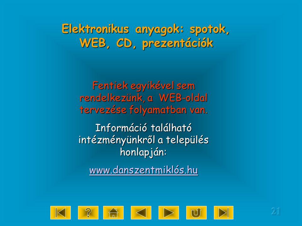 21 Elektronikus anyagok: spotok, WEB, CD, prezentációk Fentiek egyikével sem rendelkezünk, a WEB-oldal tervezése folyamatban van.