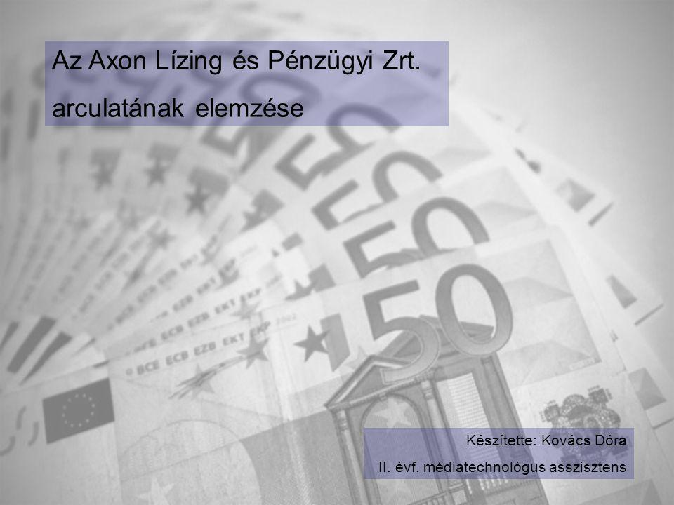 Az Axon Lízing és Pénzügyi Zrt. arculatának elemzése Készítette: Kovács Dóra II. évf. médiatechnológus asszisztens