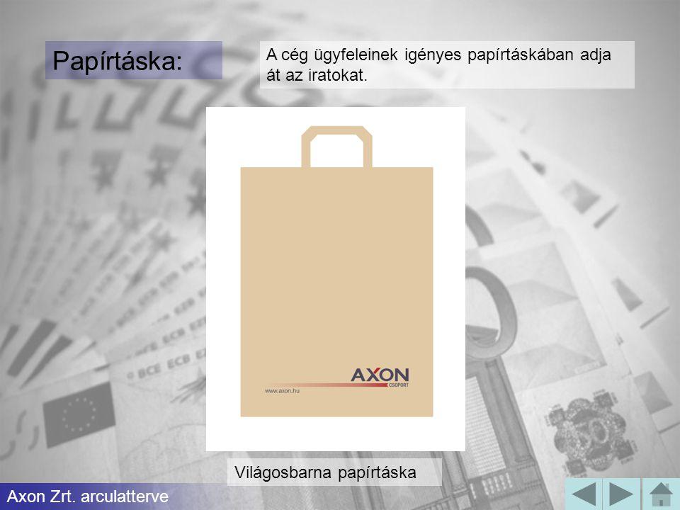 Papírtáska: A cég ügyfeleinek igényes papírtáskában adja át az iratokat. Axon Zrt. arculatterve Világosbarna papírtáska