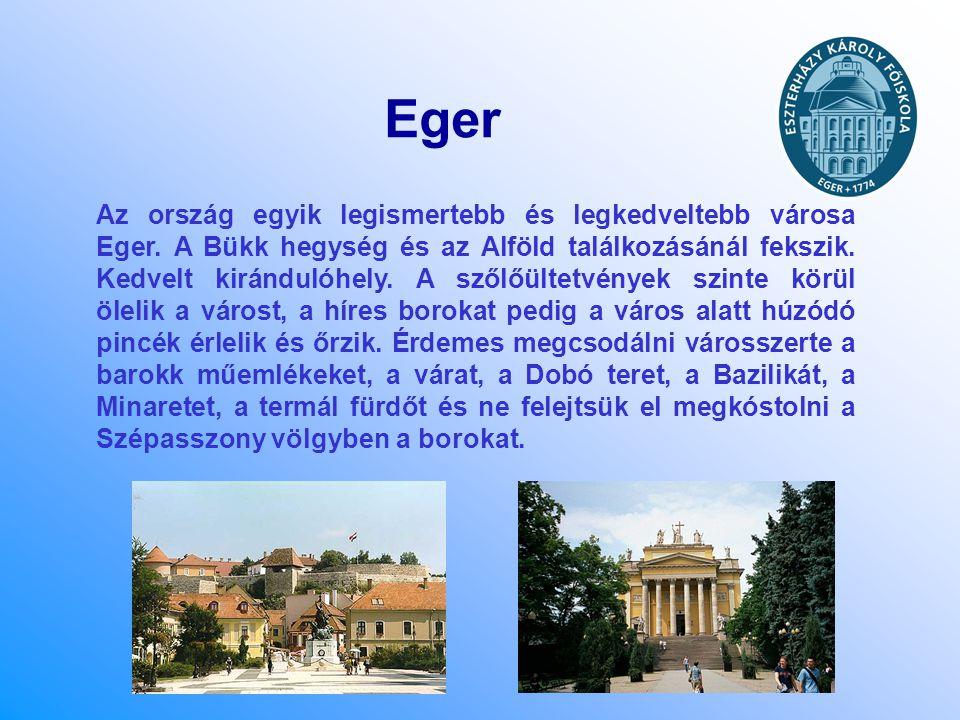 Eger Az ország egyik legismertebb és legkedveltebb városa Eger. A Bükk hegység és az Alföld találkozásánál fekszik. Kedvelt kirándulóhely. A szőlőülte