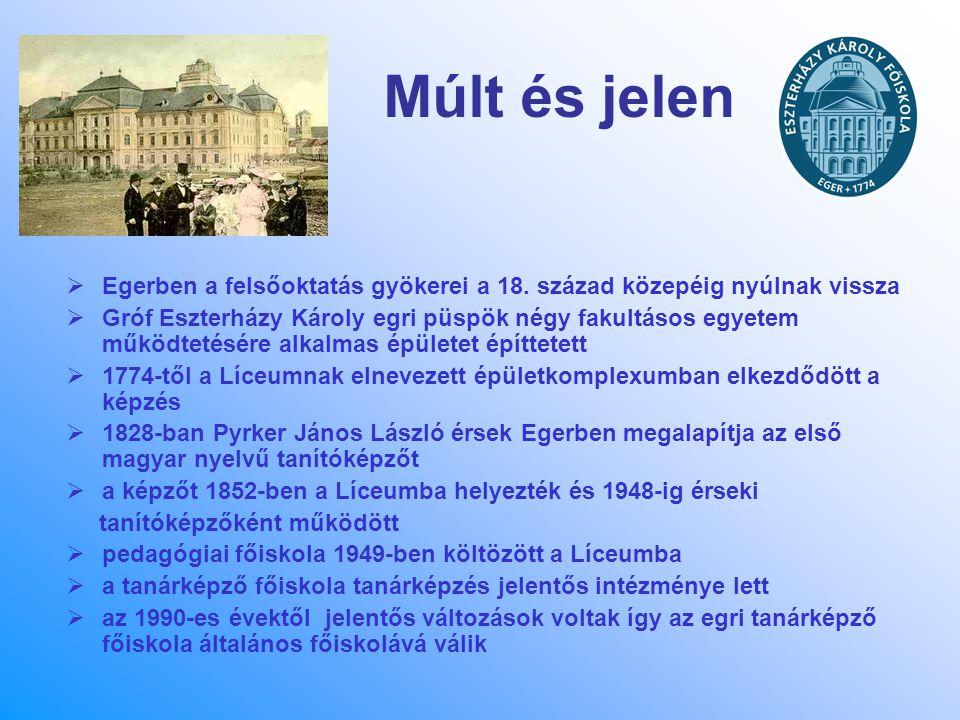 Múlt és jelen  Egerben a felsőoktatás gyökerei a 18. század közepéig nyúlnak vissza  Gróf Eszterházy Károly egri püspök négy fakultásos egyetem műkö
