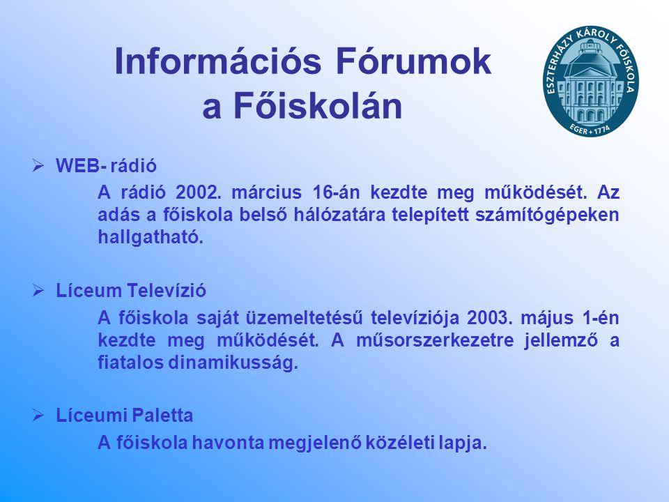 Információs Fórumok a Főiskolán  WEB- rádió A rádió 2002. március 16-án kezdte meg működését. Az adás a főiskola belső hálózatára telepített számítóg