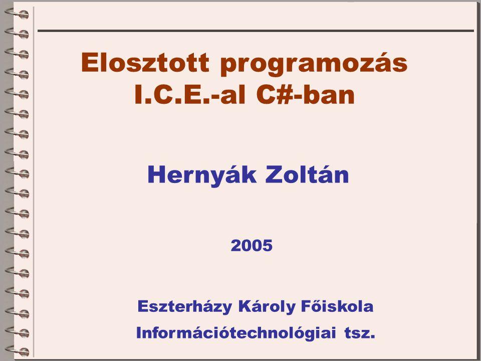 Elosztott programozás I.C.E.-al C#-ban Hernyák Zoltán Eszterházy Károly Főiskola Információtechnológiai tsz.