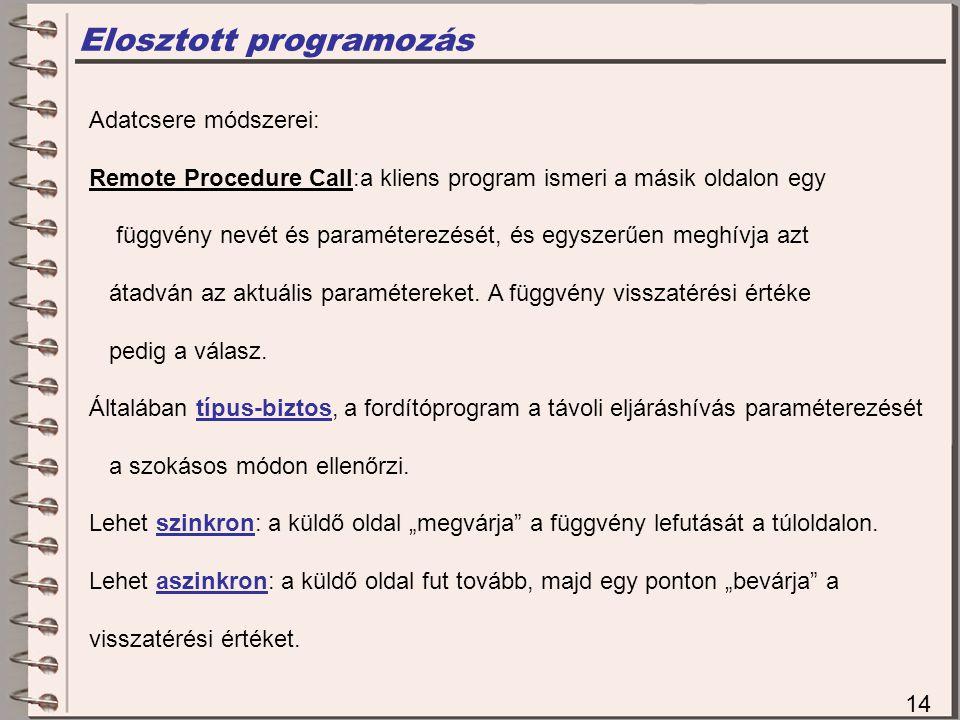 Elosztott programozás 14 Adatcsere módszerei: Remote Procedure Call:a kliens program ismeri a másik oldalon egy függvény nevét és paraméterezését, és egyszerűen meghívja azt átadván az aktuális paramétereket.