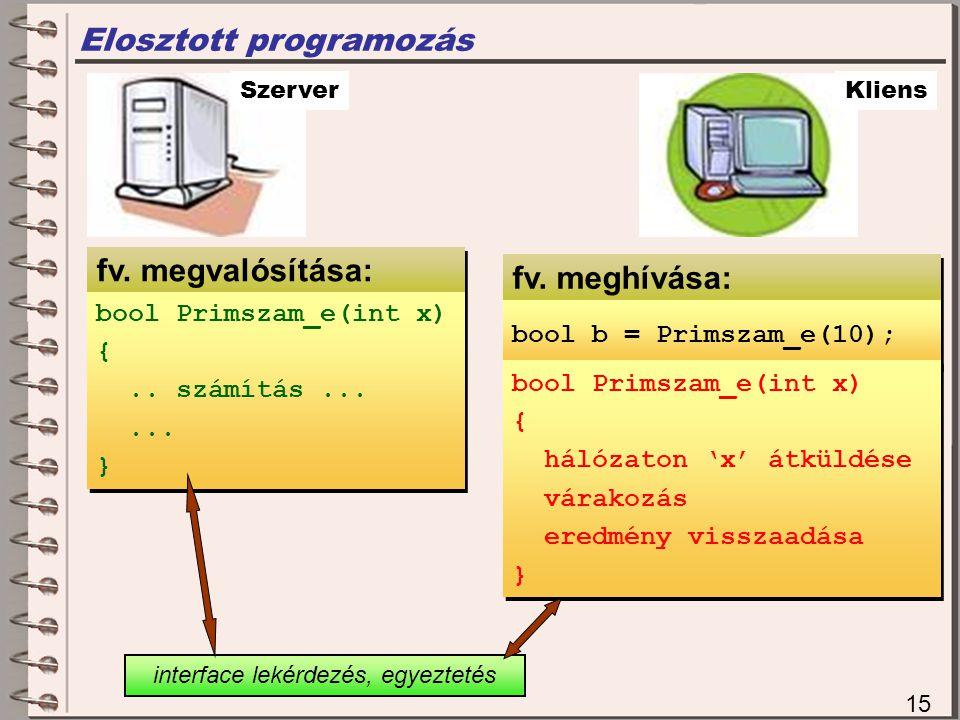fv.megvalósítása: Elosztott programozás 15 Szerver bool Primszam_e(int x) {..