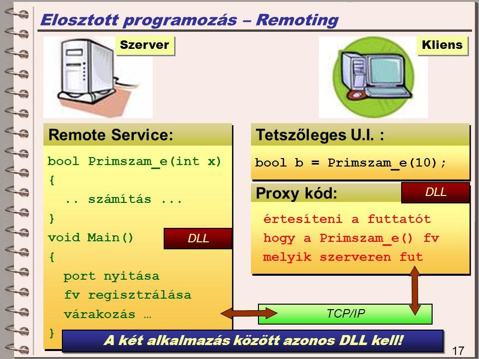 Proxy kód: Elosztott programozás – Remoting Remote Service: 17 Szerver bool Primszam_e(int x) {..