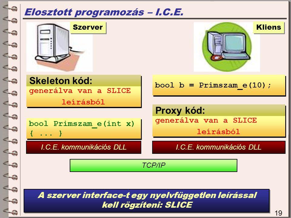 Proxy kód: Elosztott programozás – I.C.E.19 Szerver bool Primszam_e(int x) {...