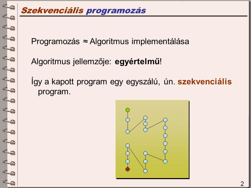 Szekvenciális programozás 2 2 Programozás ≈ Algoritmus implementálása Algoritmus jellemzője: egyértelmű.