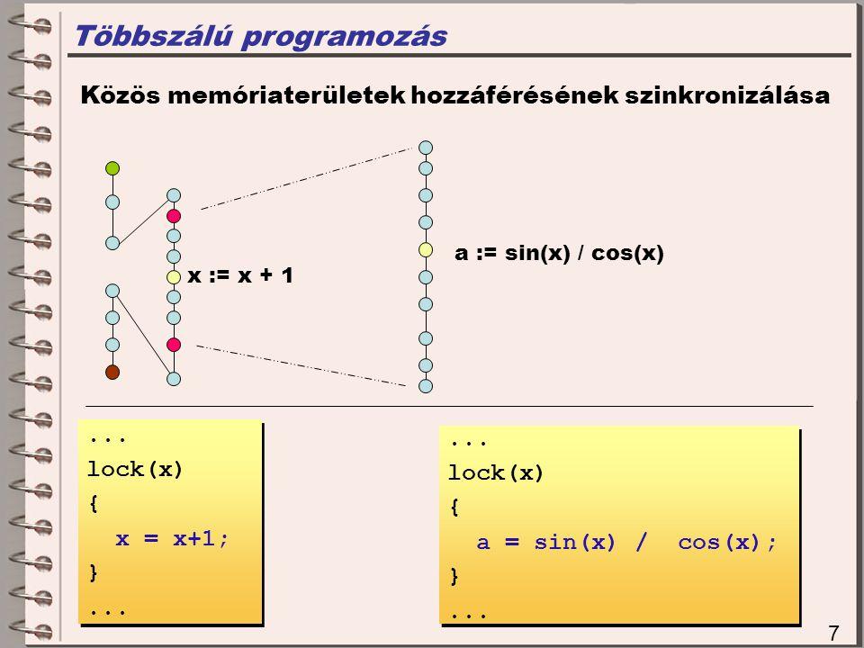 Többszálú programozás 7 Közös memóriaterületek hozzáférésének szinkronizálása x := x + 1 a := sin(x) / cos(x)...