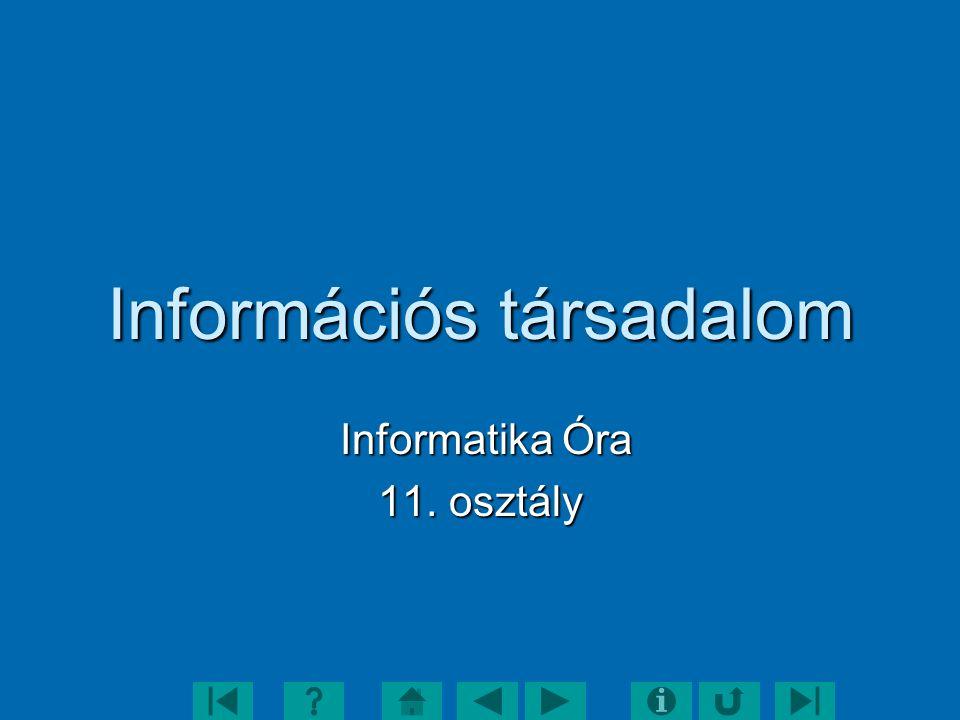 Információs társadalom Informatika Óra Informatika Óra 11. osztály