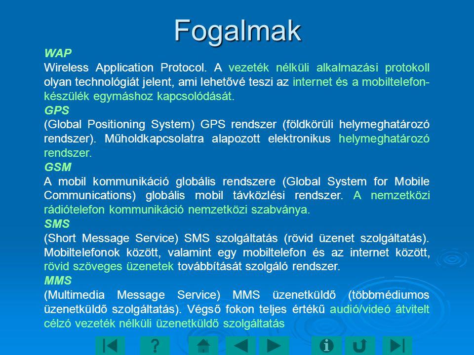 Fogalmak WAP Wireless Application Protocol. A vezeték nélküli alkalmazási protokoll olyan technológiát jelent, ami lehetővé teszi az internet és a mob