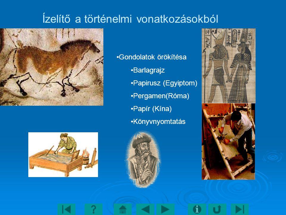 Ízelítő a történelmi vonatkozásokból Gondolatok örökítésa Barlagrajz Papirusz (Egyiptom) Pergamen(Róma) Papír (Kína) Könyvnyomtatás