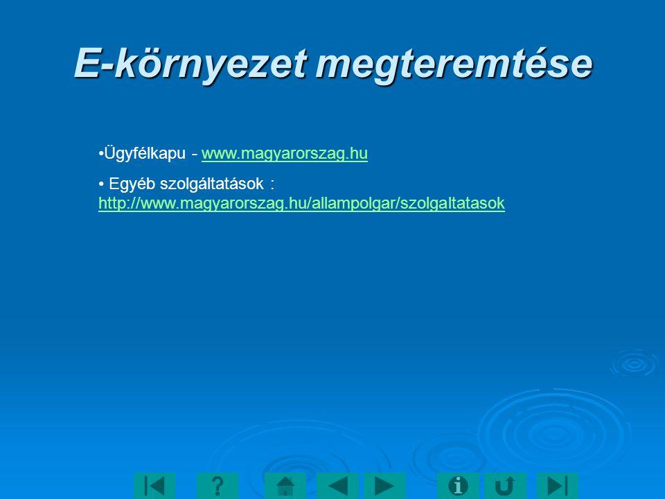 E-környezet megteremtése Ügyfélkapu - www.magyarorszag.huwww.magyarorszag.hu Egyéb szolgáltatások : http://www.magyarorszag.hu/allampolgar/szolgaltatasok http://www.magyarorszag.hu/allampolgar/szolgaltatasok