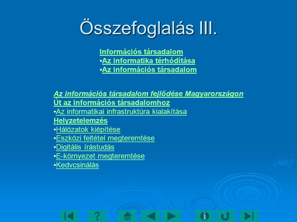 Összefoglalás III. Információs társadalom Az informatika térhódítása Az információs társadalom Az információs társadalom fejlődése Magyarországon Út a