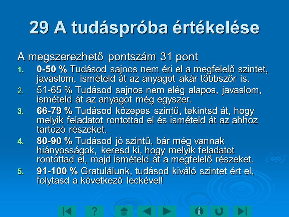 29 A tudáspróba értékelése A megszerezhető pontszám 31 pont 1. 0-50 % Tudásod sajnos nem éri el a megfelelő szintet, javaslom, ismételd át az anyagot