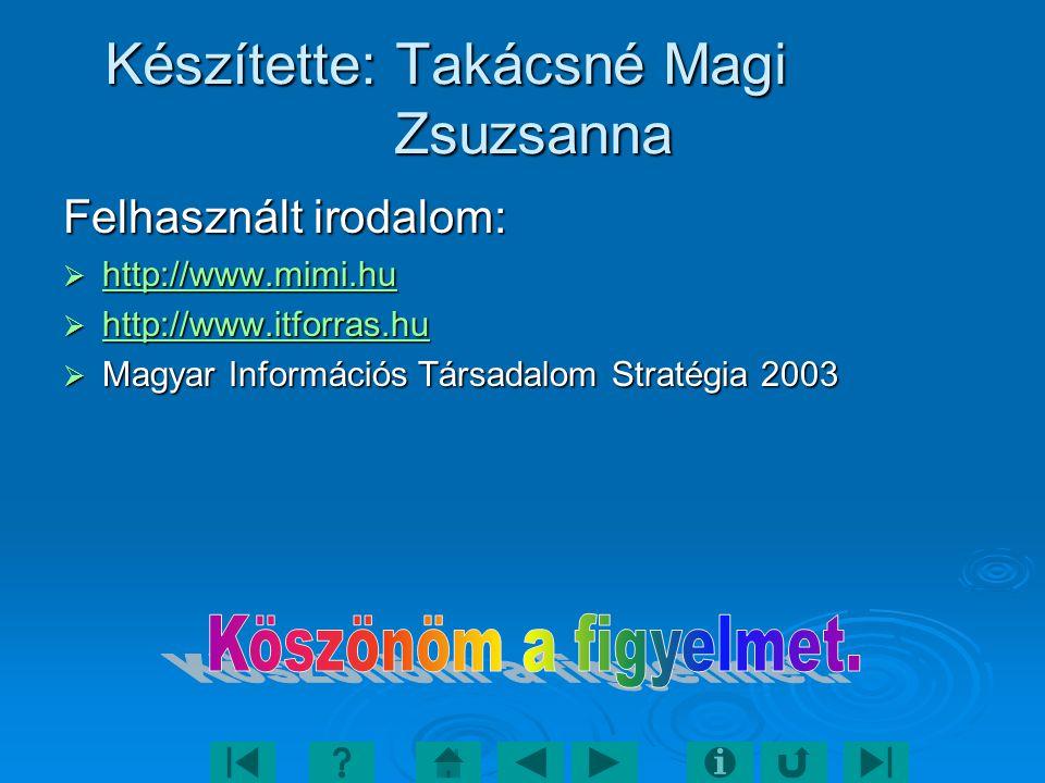 Készítette: Takácsné Magi Zsuzsanna Felhasznált irodalom:  http://www.mimi.hu http://www.mimi.hu  http://www.itforras.hu http://www.itforras.hu  Magyar Információs Társadalom Stratégia 2003