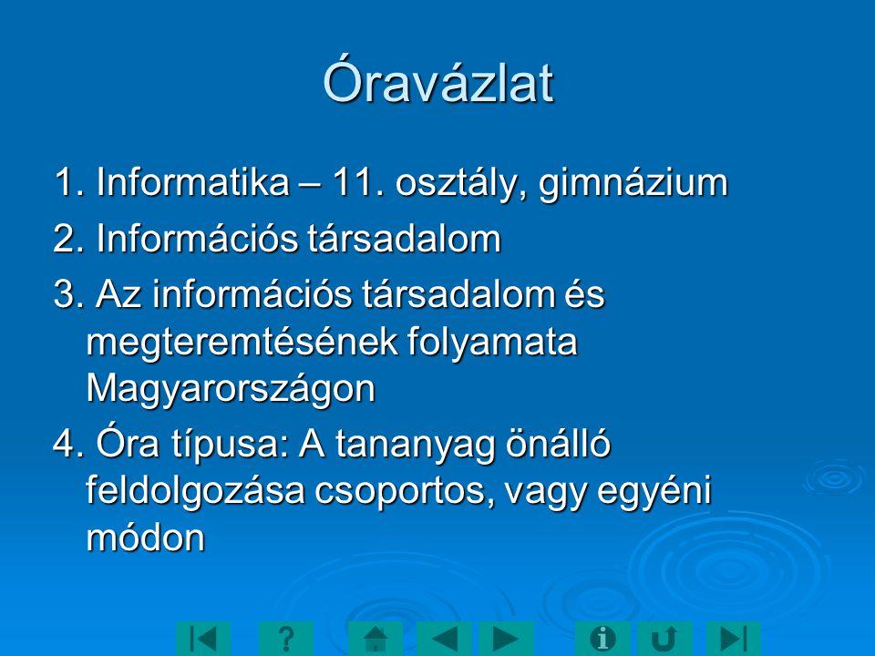 Óravázlat 1. Informatika – 11. osztály, gimnázium 2. Információs társadalom 3. Az információs társadalom és megteremtésének folyamata Magyarországon 4