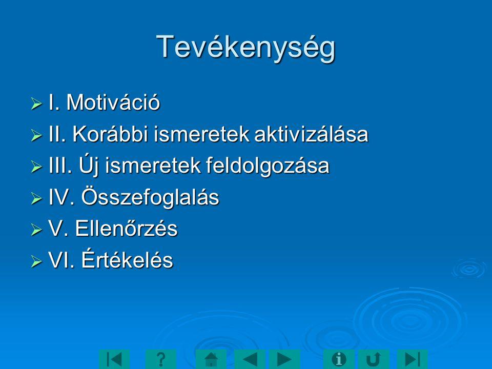Tevékenység  I. Motiváció  II. Korábbi ismeretek aktivizálása  III. Új ismeretek feldolgozása  IV. Összefoglalás  V. Ellenőrzés  VI. Értékelés