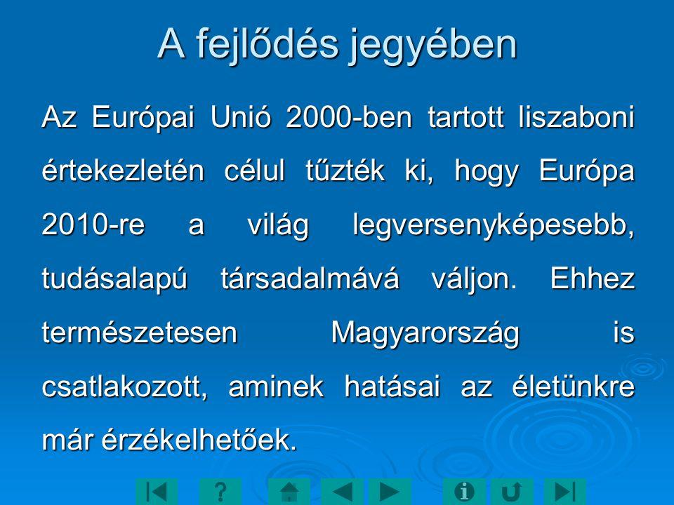 A fejlődés jegyében Az Európai Unió 2000-ben tartott liszaboni értekezletén célul tűzték ki, hogy Európa 2010-re a világ legversenyképesebb, tudásalapú társadalmává váljonEhhez természetesen Magyarország is csatlakozott, aminek hatásai az életünkre már érzékelhetőek.