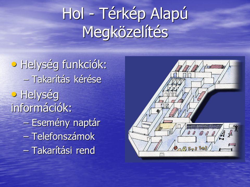 Hol - Térkép Alapú Megközelítés Helység funkciók: Helység funkciók: – Takarítás kérése Helység információk: Helység információk: – Esemény naptár – Telefonszámok – Takarítási rend