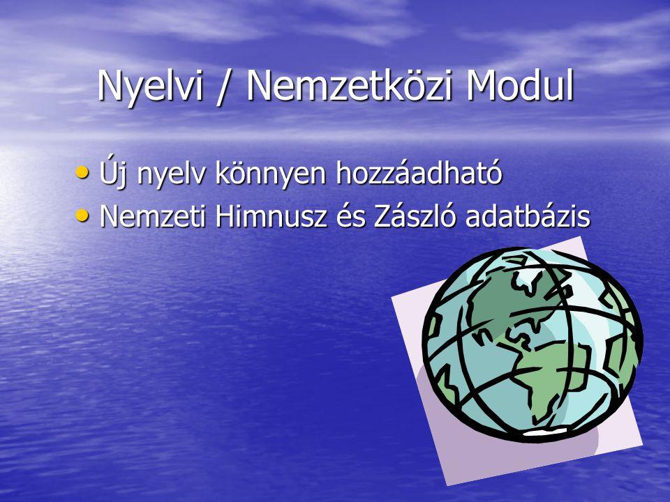 Nyelvi / Nemzetközi Modul Új nyelv könnyen hozzáadható Új nyelv könnyen hozzáadható Nemzeti Himnusz és Zászló adatbázis Nemzeti Himnusz és Zászló adatbázis