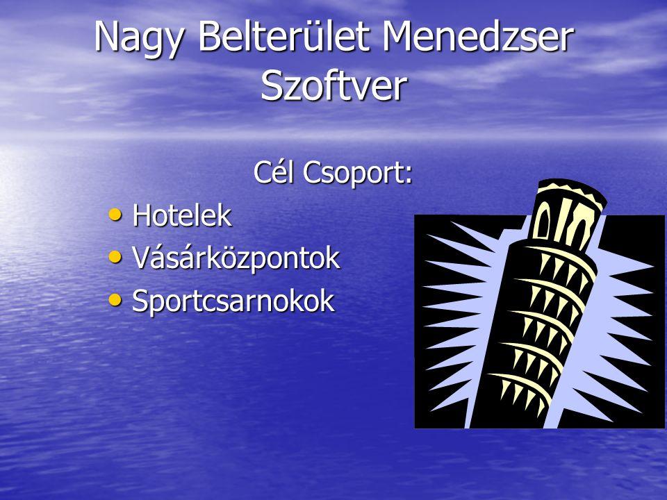 Nagy Belterület Menedzser Szoftver Cél Csoport: Hotelek Hotelek Vásárközpontok Vásárközpontok Sportcsarnokok Sportcsarnokok