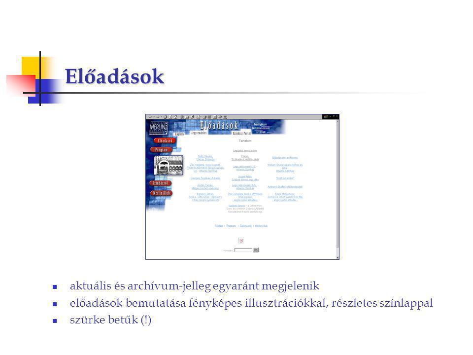 Előadások aktuális és archívum-jelleg egyaránt megjelenik előadások bemutatása fényképes illusztrációkkal, részletes színlappal szürke betűk (!)