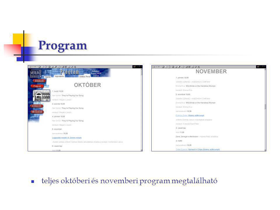 Program teljes októberi és novemberi program megtalálható