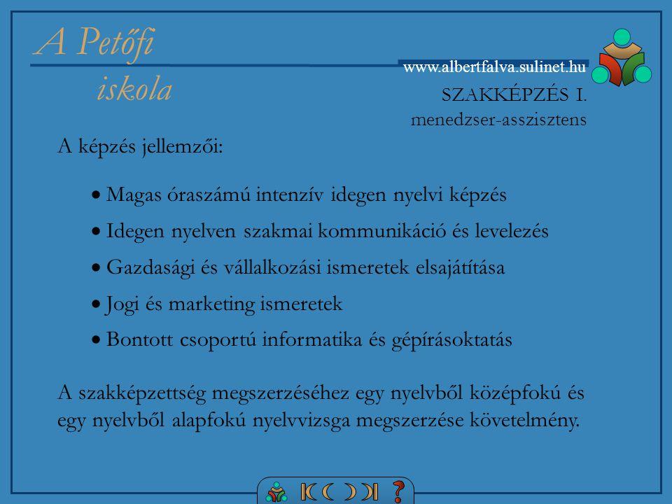 A Petőfi iskola www.albertfalva.sulinet.hu SZAKKÉPZÉS I.
