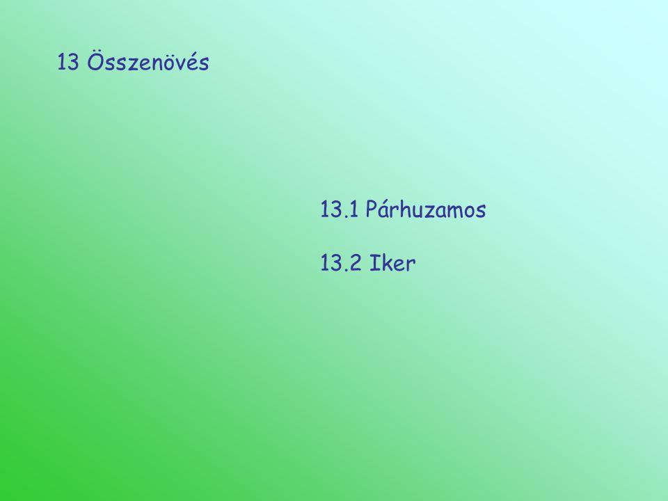 13 Összenövés 13.1 Párhuzamos 13.2 Iker