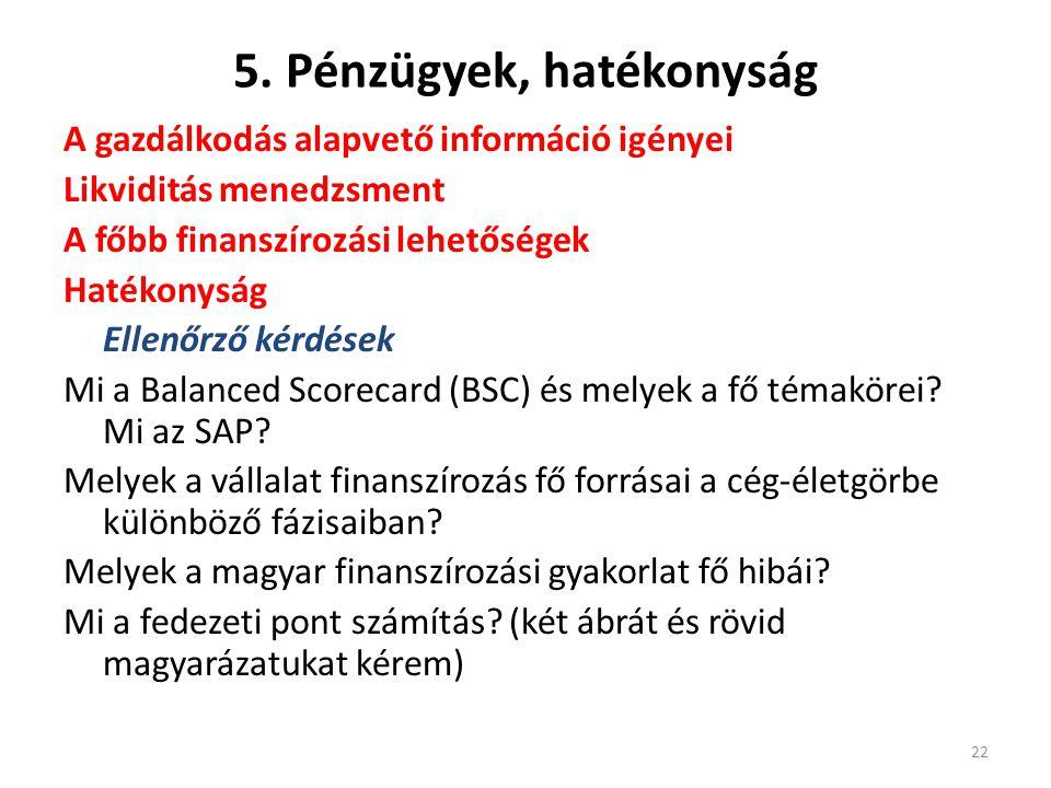 5. Pénzügyek, hatékonyság A gazdálkodás alapvető információ igényei Likviditás menedzsment A főbb finanszírozási lehetőségek Hatékonyság Ellenőrző kér