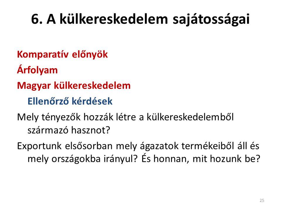 6. A külkereskedelem sajátosságai Komparatív előnyök Árfolyam Magyar külkereskedelem Ellenőrző kérdések Mely tényezők hozzák létre a külkereskedelembő