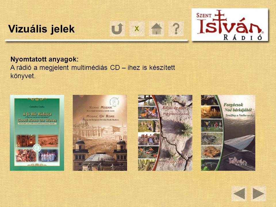 X Vizuális jelek Nyomtatott anyagok: A rádió a megjelent multimédiás CD – ihez is készített könyvet.