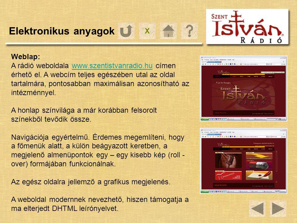 X Elektronikus anyagok Weblap: A rádió weboldala www.szentistvanradio.hu címen érhető el. A webcím teljes egészében utal az oldal tartalmára, pontosab