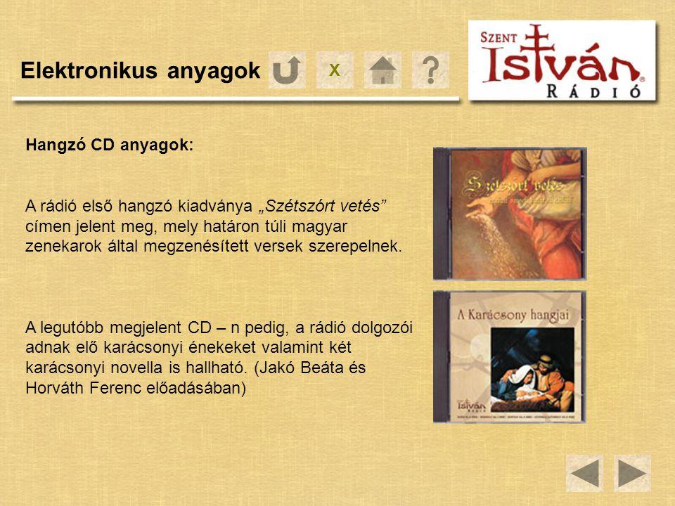 """X Elektronikus anyagok Hangzó CD anyagok: A rádió első hangzó kiadványa """"Szétszórt vetés"""" címen jelent meg, mely határon túli magyar zenekarok által m"""