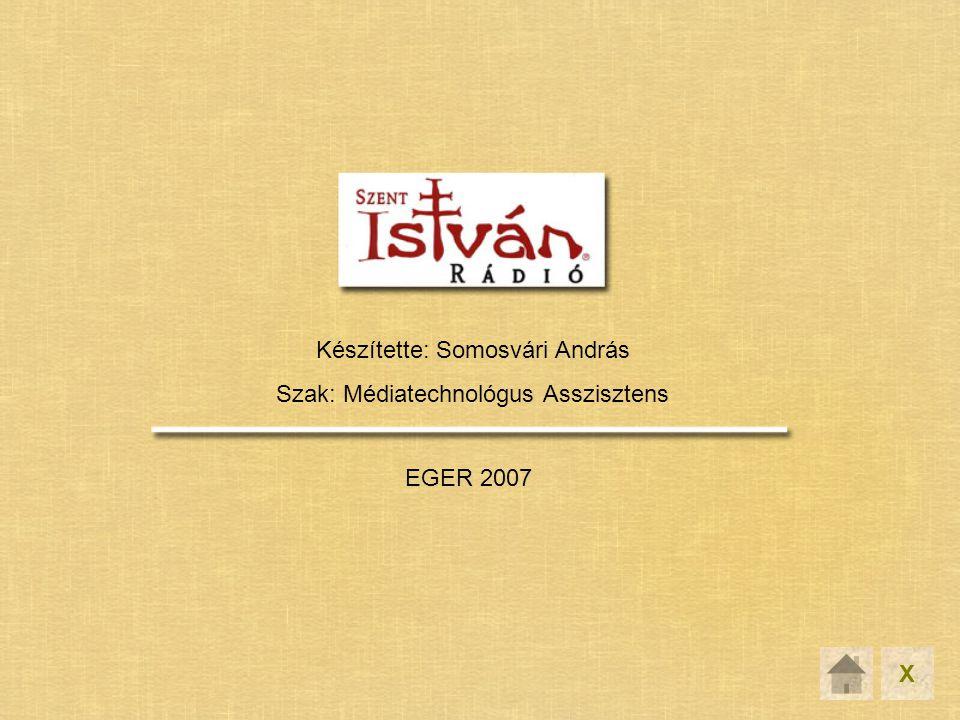 Készítette: Somosvári András Szak: Médiatechnológus Asszisztens EGER 2007 X