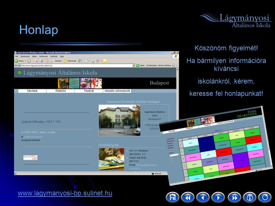 Köszönöm figyelmét! Ha bármilyen információra kíváncsi iskolánkról, kérem, keresse fel honlapunkat! www.lagymanyosi-bp.sulinet.hu Honlap