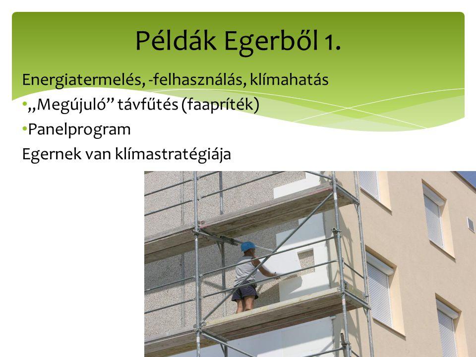 """Energiatermelés, -felhasználás, klímahatás """"Megújuló"""" távfűtés (faapríték) Panelprogram Egernek van klímastratégiája Példák Egerből 1."""
