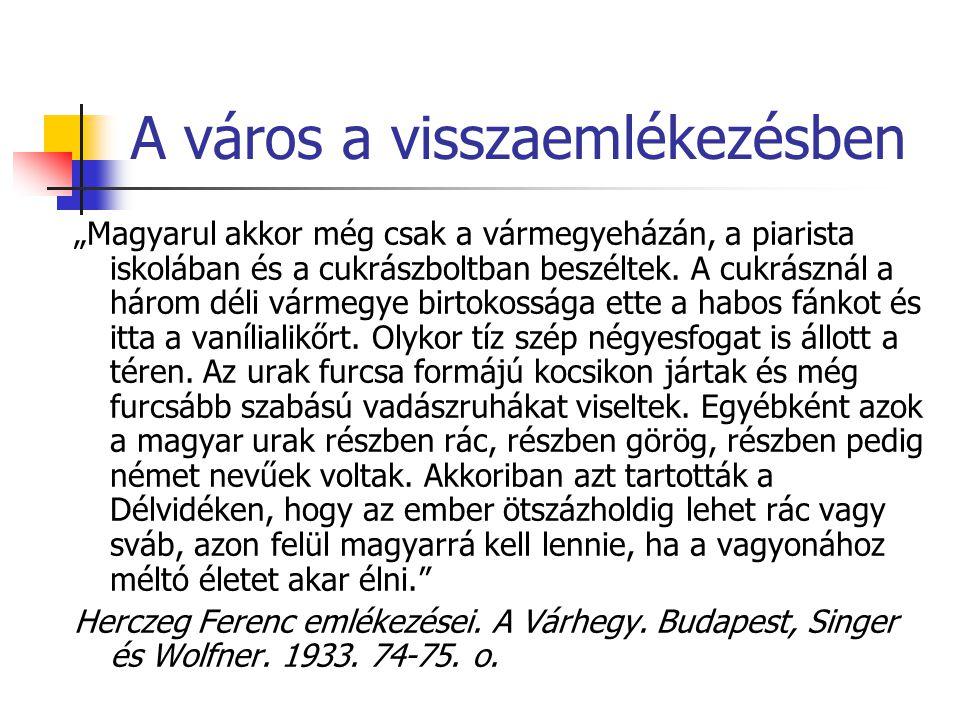 """A város a visszaemlékezésben """"Magyarul akkor még csak a vármegyeházán, a piarista iskolában és a cukrászboltban beszéltek."""