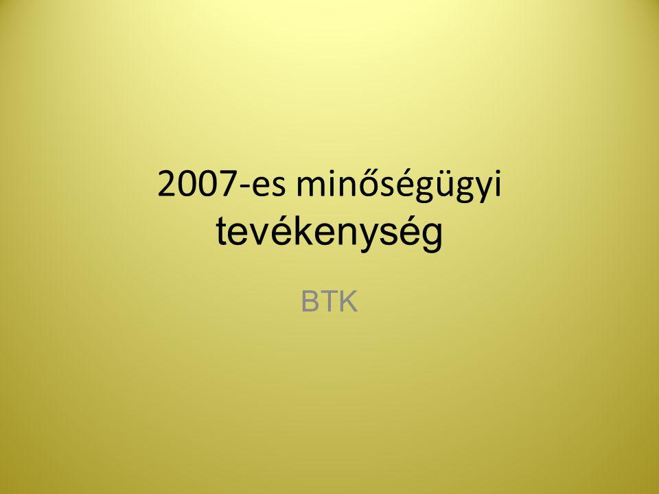 2007-es minőségügyi tevékenység BTK