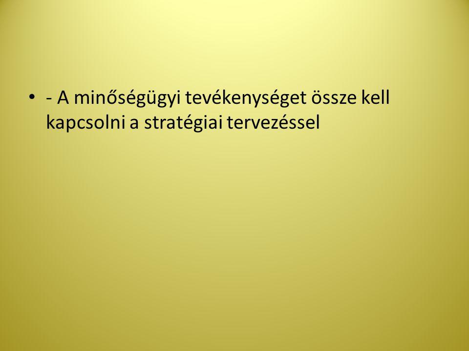 - A minőségügyi tevékenységet össze kell kapcsolni a stratégiai tervezéssel