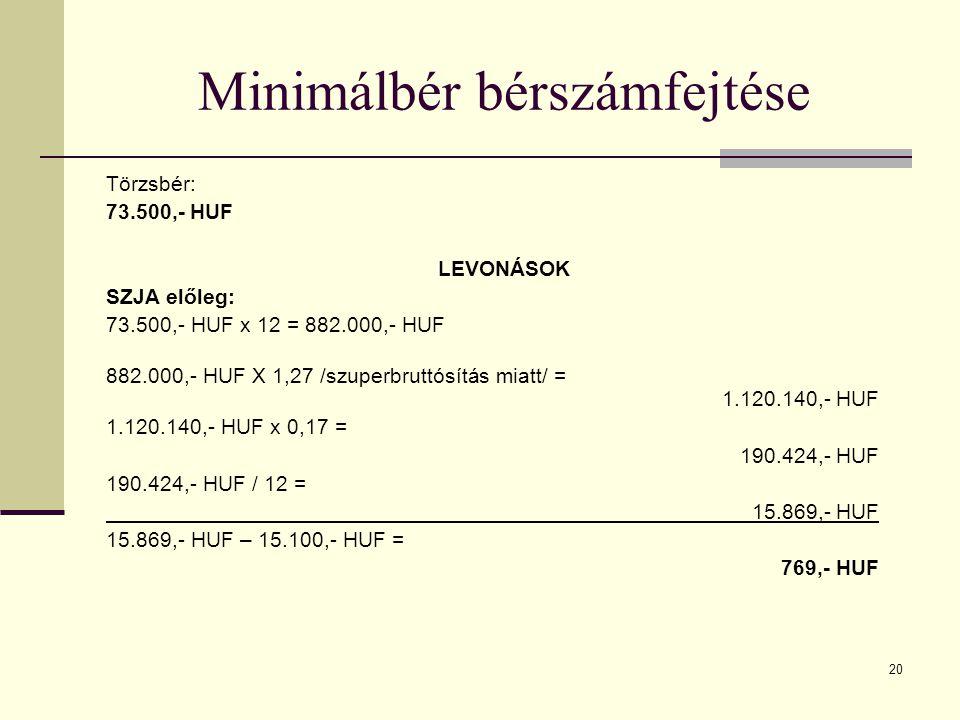 20 Minimálbér bérszámfejtése Törzsbér: 73.500,- HUF LEVONÁSOK SZJA előleg: 73.500,- HUF x 12 = 882.000,- HUF 882.000,- HUF X 1,27 /szuperbruttósítás m