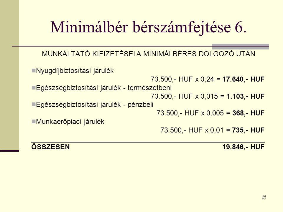 25 Minimálbér bérszámfejtése 6. MUNKÁLTATÓ KIFIZETÉSEI A MINIMÁLBÉRES DOLGOZÓ UTÁN Nyugdíjbiztosítási járulék 73.500,- HUF x 0,24 = 17.640,- HUF Egész