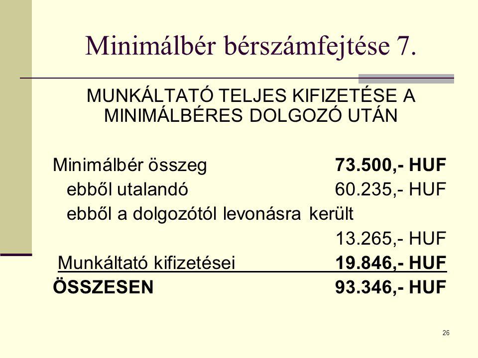 26 Minimálbér bérszámfejtése 7. MUNKÁLTATÓ TELJES KIFIZETÉSE A MINIMÁLBÉRES DOLGOZÓ UTÁN Minimálbér összeg73.500,- HUF ebből utalandó 60.235,- HUF ebb
